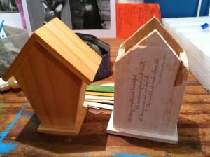 unpainted and broken birdhouses